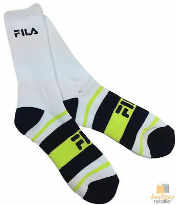 6x Pairs FILA TENNIS SOCKS Crew Sports Squash Badminton Cushion Cotton Blend