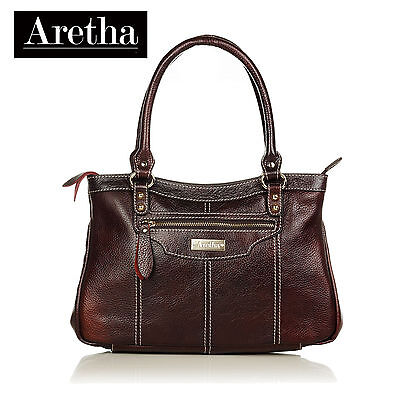 Aretha genuine cow leather womens small totes bags ladies satchel handbags Red