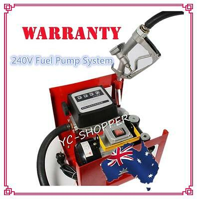 240V Diesel Fuel Transfer Dispenser Pump - with Hose, Nozzle and Flow Meter