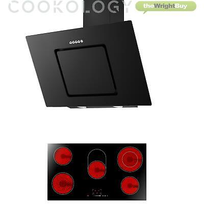 Cookology 90cm touch control Ceramic Hob & Black Angled Cooker Hood Pack