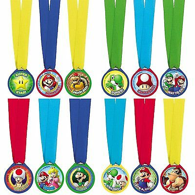 12 Super Mario Bros & Friends Children's Party Mini Award Medals Favours Prizes