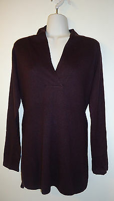 Oh Baby Purple Maternity Sweater size S Belted Faux Wrap Acrylic Plum Ribbed