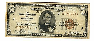 1929 $5 Federal Reserve Of Missouri, Kansas City Note Brown Seal