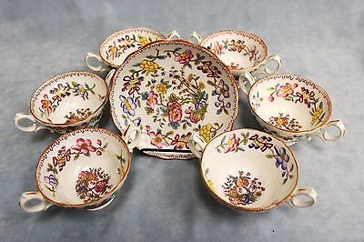 Set 6 Porcelain Hammersley+Longton Co England 6149 Consomme Bullion Cup&Saucers