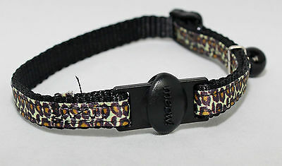 Leopard Print nylon Cat collar,kitten Collar,cat Safety buckle collar with bell