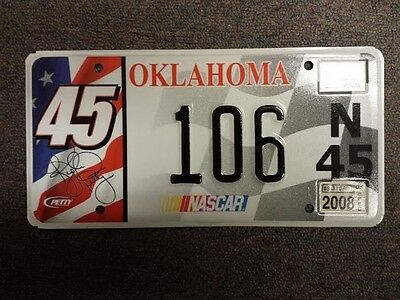 2008 Real OKLAHOMA Nascar License Plate #106 For Driver of Car #45 Kyle Petty