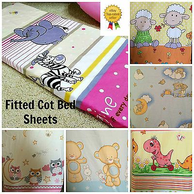 Baby Toddler Nursery 100% Cotton Patterned Fitted Sheet To Fit Cot 120 x 90cm