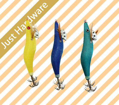 New 6 pc pcs 3.0 Squid Jigs Jig Fishing Tackle Hooks Size #3 3 assorted color