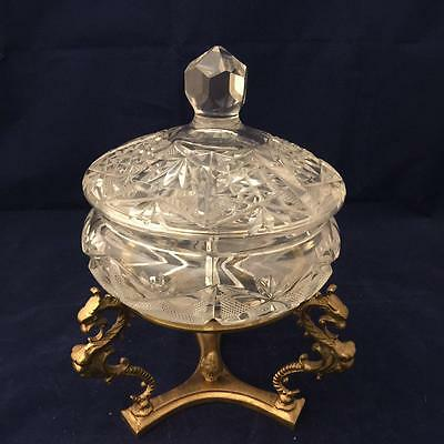 Vintage Clear Cut To Crystal Brass Compote Candy Dish Center Piece Bowl W/cover