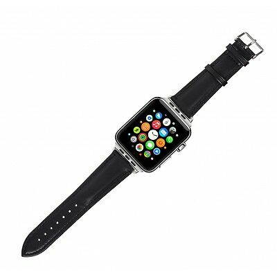 Case it Cover for Apple Watch 38 mm PU Leather strap - Black