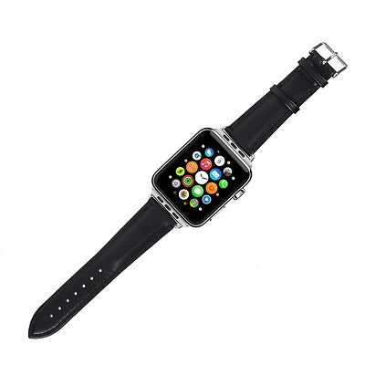 Case it Cover for Apple Watch 42 mm PU Leather strap - Black