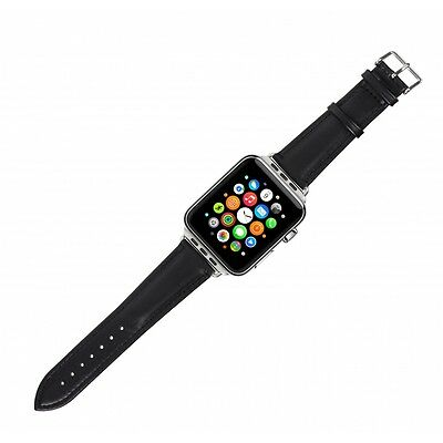 Case it Cover for Apple Watch 42 mm Genuine Leather strap - Black