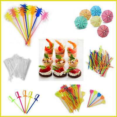 Pap-Star Cocktail Picks Sticks Toppers Colourful Plastic Party Buffet Stirrers