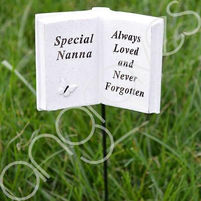Special Nanna Memorial Book Tribute Stick with Message Grave Graveside Plaque