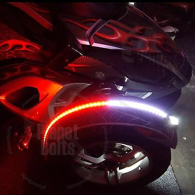 Set Red White Dual Color Fender Channel Flex LED Strip Can Am Spyder RS ST RT F3