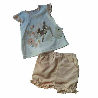 Baby Girl Peach Disney Bambi Top and Shorts set NB/0/3/6/9/12m