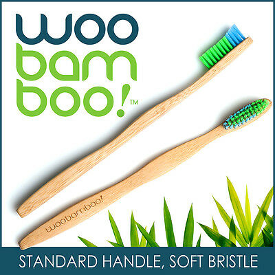 WooBamboo Eco-Friendly Bamboo Toothbrush - Standard Handle, Soft Bristles
