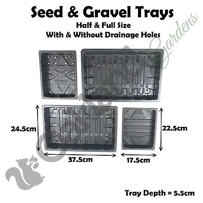 Flexible Seed Trays Full + Half Size / With + Without Holes Gravel Tray 38Cm