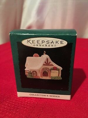 "Miniature Hallmark Keepsake Ornament~Old English Village 7 ""hat Shop""~1994~T9420"