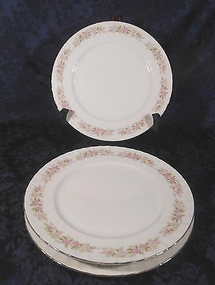"Set of 3 Dansico Teahouse Rose Fine China - 10 1/4"" Dinner Plates - Japan"