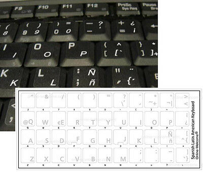 Spanish Latin American Keyboard Sticker Transparent White Letters
