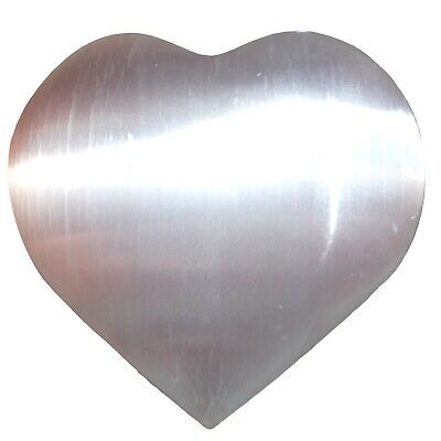 "LG 3"" SELENITE POCKET PUFFY HEART Carving Healing Crystal Reiki [3/4 lbs]"