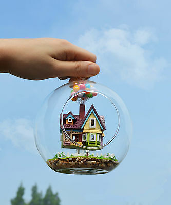 """Mini glass DIY Dollhouse miniature with LED and Voice control """"up"""" doll house"""