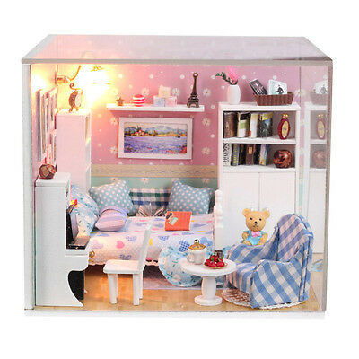 New Kits DIY Wood Dollhouse miniature with LED+Furniture+cover Doll house room 1