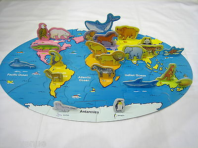 World Continent National Flag/Animal/Building Educational Puzzle Montessori am