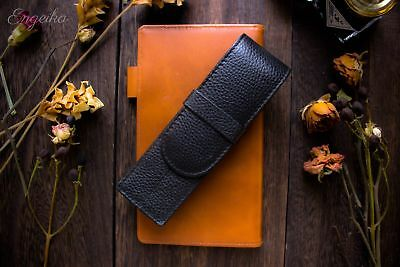Japanese Handmade Wancher Black Genuine Leather Fountain Pen Case 2 Pens Limited