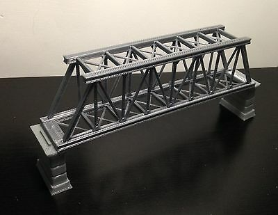 Outland Models Railroad Truss Bridge Grey (for Single Track) with Piers Z Scale