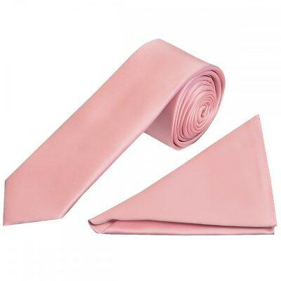 Hand Made Plain Pink Satin Boys Tie and Handkerchief Set Kids Wedding Tie Hanky