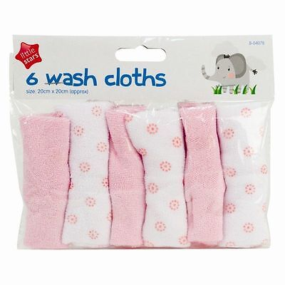 6x Baby Wash Cloths Towels Toddler Wipes Flannels Feeding Bath Cleaning UK SALE