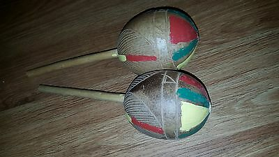 Maracas Vintage Musical Instrument Wooden Hand Carved