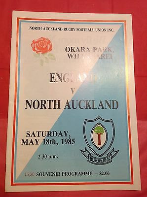 North Auckland v England 1985 Rugby Programme