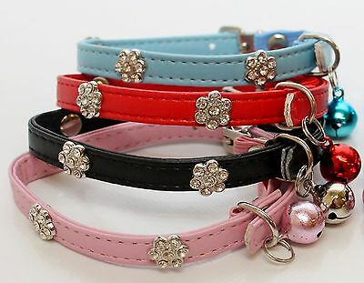 Cat Collar Diamante stones safety elastic leather bell Bling Flower kitten