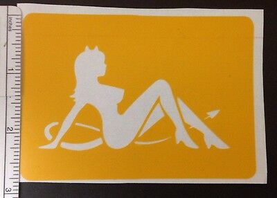 Sitting Devil Pinup Girl Design stencil for Airbrush Tattoo craft Art