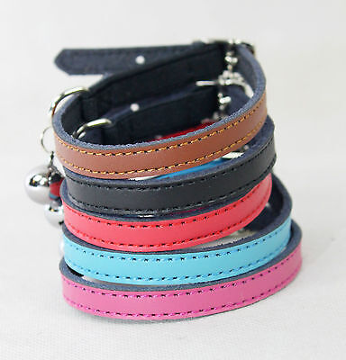 Cat Collar Kitten Real Leather safety bell Elastic Free Fast Postage 5 colours