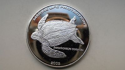 2003 Ghana 500 Sika Leatherback Turtle Silver Proof Coin