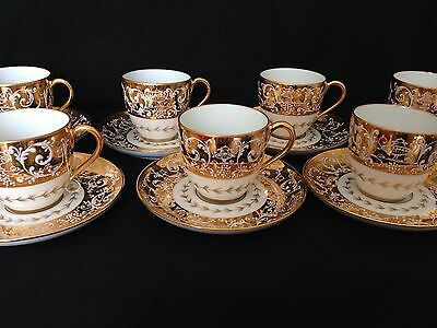 Rare Set Of 7 1954 French Le Tallec Gold Enamel Lace Cups And Saucers Midcentury