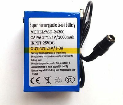 24V DC Rechargeable Li-ion Battery Pack 3000mAh Lithium-ion with UK charger