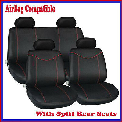 Vauxhall Corsa Sxi (06-)  Luxury Full Seat Cover Set Black & Red Piping