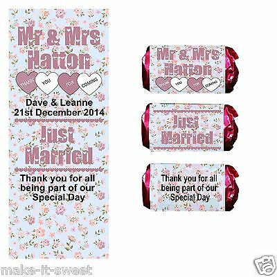 50/100 Personalised Floral Mini Love Heart Rolls Wedding Favour Wrappers Labels