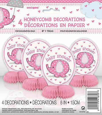 Baby Shower Decorations Baby Pink Elephant Honeycomb Pack Of 4 Table Decorations