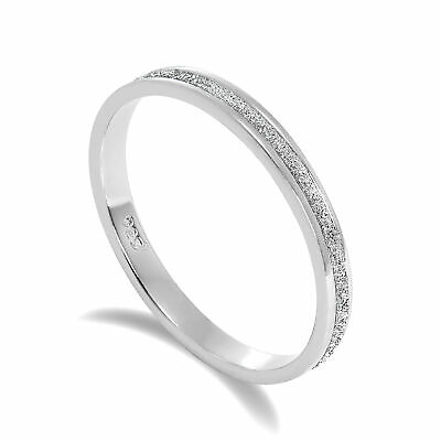 Frosted 925 Sterling Silver Full Eternity Ring Size I J K L M N O P Q R S T U VW