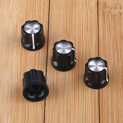 4Pcs Guitar Mini Effect Pedal Knobs 6mm Black w/Silver Cap Knob For Boss Pedals