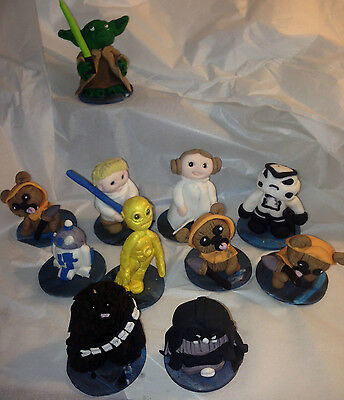Edible Star wars inspired 3D Fondant Cake toppers Luke Leah Yoda Darth Vader