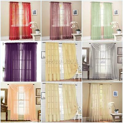 Hot Solid Sheer Curtain Window Curtains Bedroom Voile Drape Panel Sheer Curtains