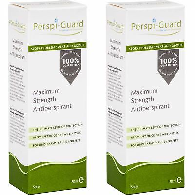 2 x Perspi-Guard Maximum Strength Antiperspirant Spray 50ml for Sweat Control