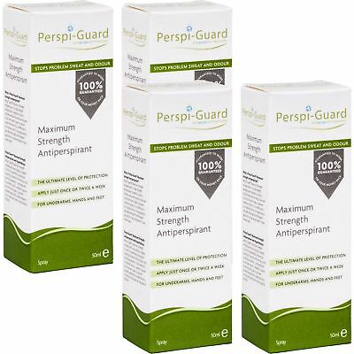 4 x Perspi-Guard Maximum Strength Antiperspirant Spray 50ml for Sweat Control